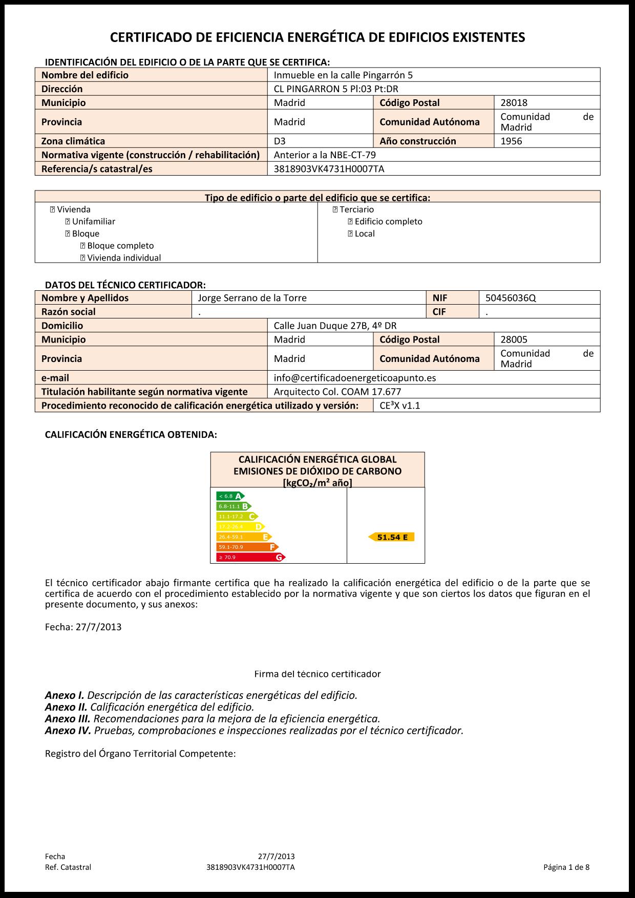 certificado energetico ejemplo