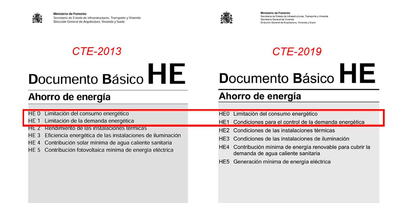 Cambios CTE2013-CTE2019 Certificacion Energética HE0-HE1